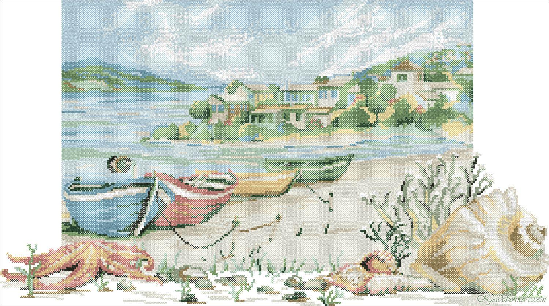 Вышивка пейзаж морской 75