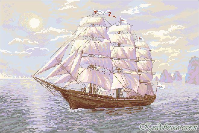 Схема вышивки крестом корабля с парусником