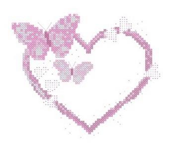 Сердце из бабочек вышивка крестом 58