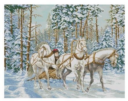 Вышивка тройка зима