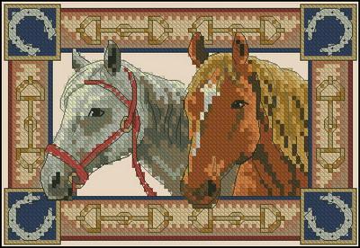 СХЕМА.  Пара лошадей.  Вышивка крестом, схемы.