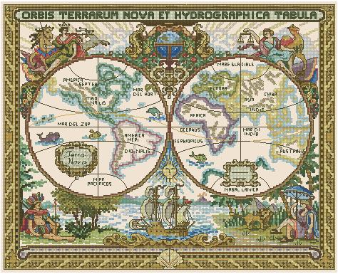 Старая карта мира вышивка