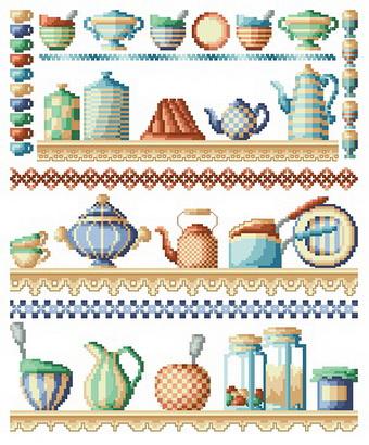 Схема вышивки крестиком посуды
