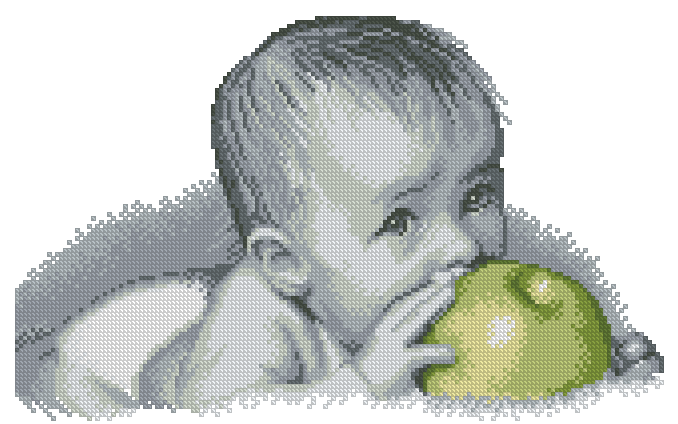 Малыш с цветами схема