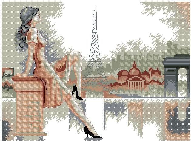 Париж вышивка монохром