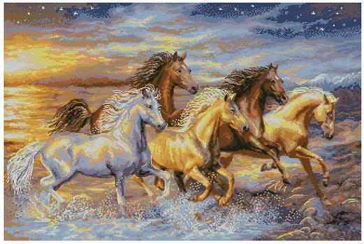 Схема вышивки лошадь на закате