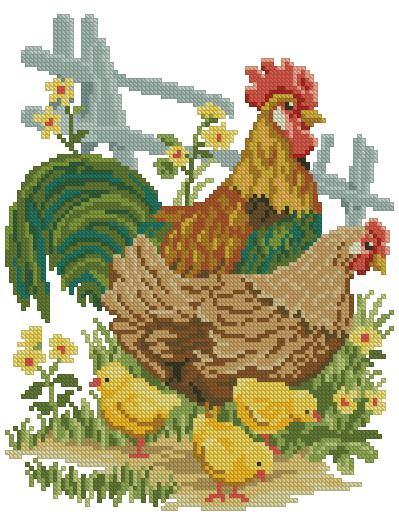 Вышивка крестом курицы и петух