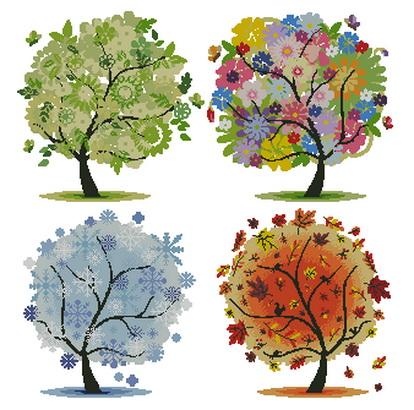 Вышивка деревья сезоны
