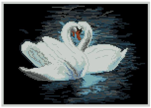 Вышивка крестом два лебедя схема