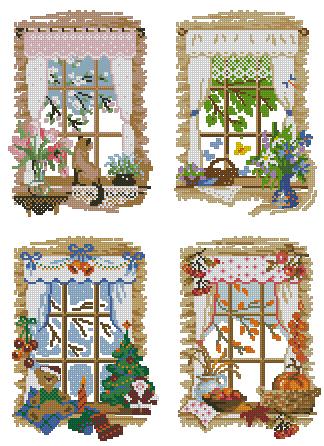 Схема вышивки крестиком времена года