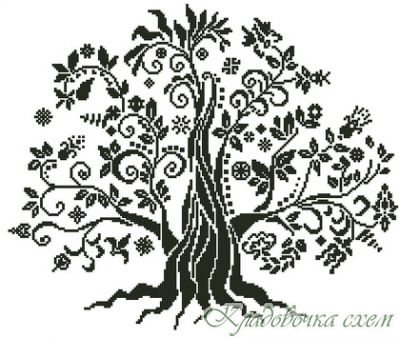 Монохром дерево вышивка крестом