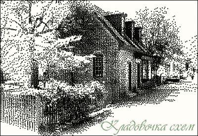 Вышивка крестом монохром дома