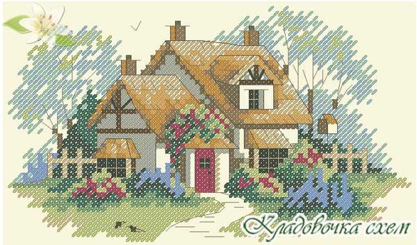 Пейзаж с домиками вышивка