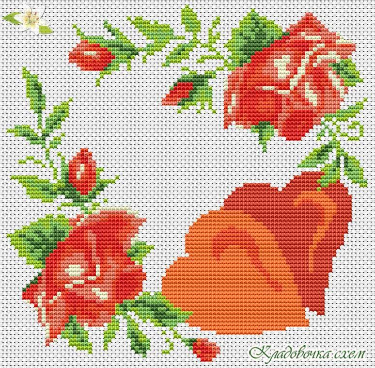 Схема вышивки крестом валентинок 319