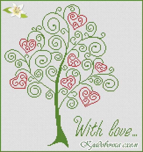 Вышивка схема сердечное дерево
