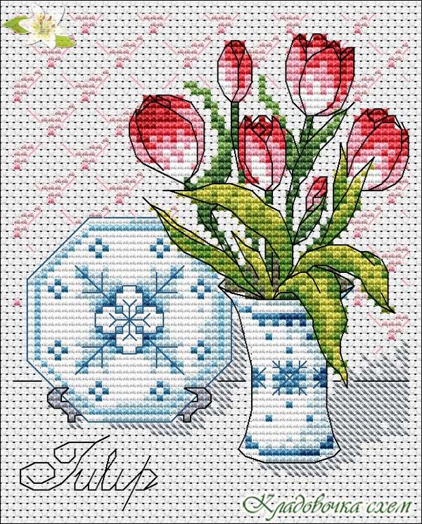 Ваза с тюльпанами вышивка