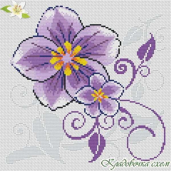 Вышивка с фиолетовыми цветами 424