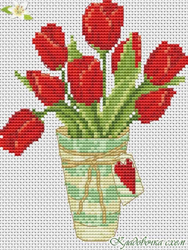 Бесплатные схемы вышивки тюльпанов крестом
